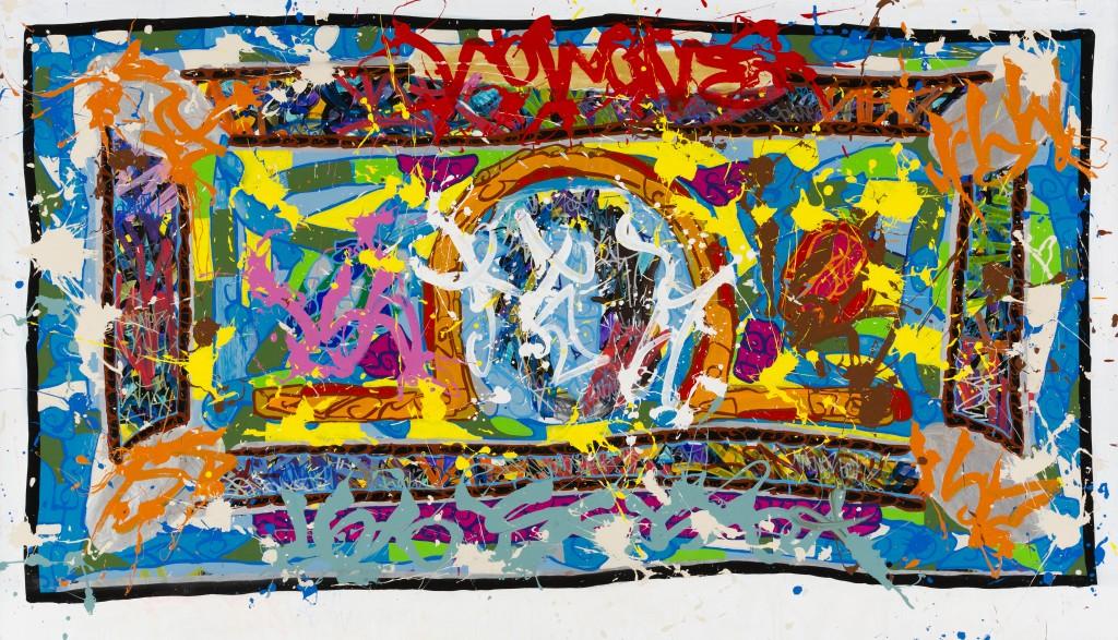 2015-Franklins, acrylique et encre sur toile, 138 x 249 cm