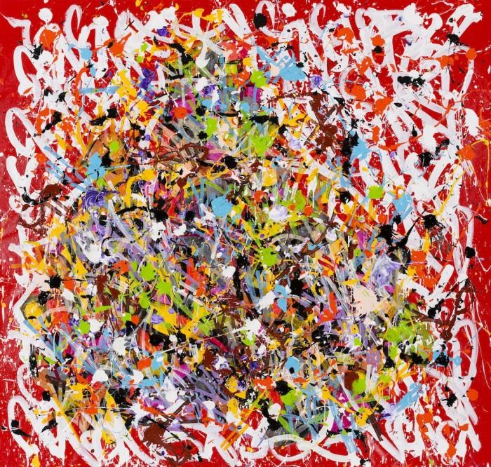 2015-Open your eyes, acrylique, encre et Posca sur toile, 195 x 200 cm