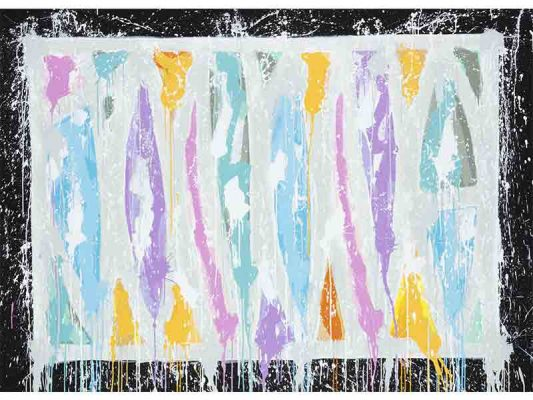 2019-How-To-Fall-Down-And-Stand-Up-Quickly,-acrylique-sur-toile,-135-x-193-cm_-JonOne_2019_Repro_043lr